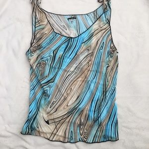 Wet seal abstract print nylon blue brown tank top